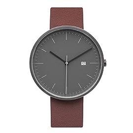 BIJOUONE-B202-Minimalist-Mens-Grey-Dial-Stainless-Steel-Swiss-Quartz-Analog-Calendar-Brown-Leather-Watch