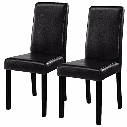 New Elegant Black Set of 2 Modern Contemporary PU Leather Design Dining Chairs Urban Style Solid Wood Furniture Décor Home Room Kitchen Restaurant (Rattan Dining Chairs Uk)