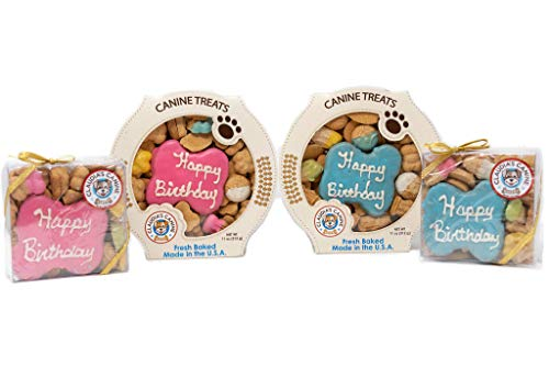 Claudia's Canine Bakery, Happy Birthday Gift Assortment Dog Cookies | Pink, Vanilla Flavor, Gourmet Dog Treats| No Preservatives, No Animal by-Products, No Fillers | Made in The USA | Net Wt. 7 oz