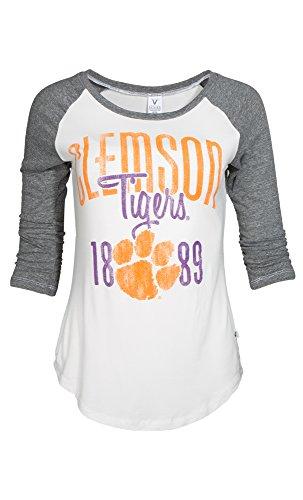 NCAA Clemson Tigers Sierra Baseball Tee, X-Large, White/Tri-Grey