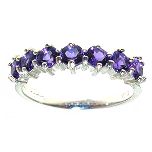 10k White Gold Natural Amethyst Womens Eternity Ring - Sizes 4 to 12 (Gold Amethyst Estate Ring)