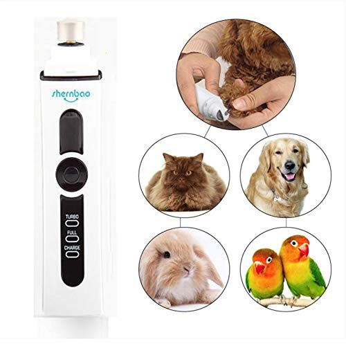WJHA Dog Nail Grinder, Electric Pet Nail Clippers Trimmer Grooming Tools,USB Rechargeable, Safe, Ultra Quiet Painless(White)