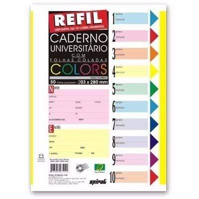 Caderno Universitário C/500 Fls Coladas Refil Color 4 Furos