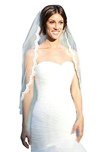 MisShow Women's White 1 Tier Elegent Lace Appliques Wedding Veil with Comb (Wedding Dresses And Veils)