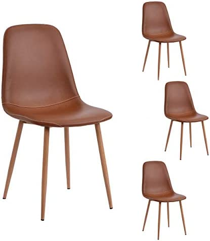 Dining Chairs Set of 4 PU Leather Cushion Seat Side Chair