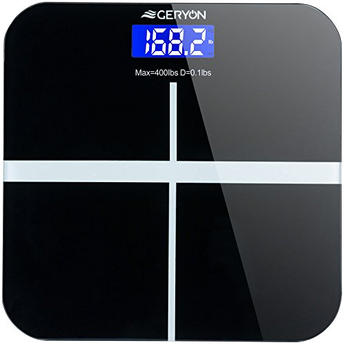 Geryon Weight Scale Digital Bathroom Body Weight Scale, Electronic & Smart Weighing Machine with Body Tape Measure & 2 x AAA Batteries, 400 lbs/180kg -