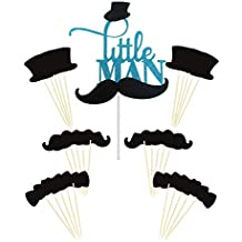 Joyclub Little MAN Cake Topper Mini Mustache Hat Bowtie Cupcake Picks For Baby Shower Birthday Party Decorations Supplies(31 pack)