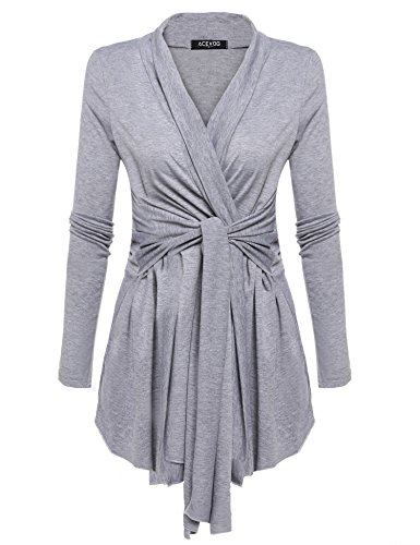 Price comparison product image Beyove Women's Long Sleeve Waterfall Asymmetric Drape Long Open Cardigan with Belt Grey XL