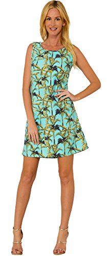 INGEAR Sleeveless Casual Short Summer Dress Tank Beachwear (Palm Tree, Small)