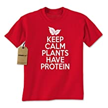 Expression Tees Keep Calm Plants Have Protein Vegetarian Mens T-shirt