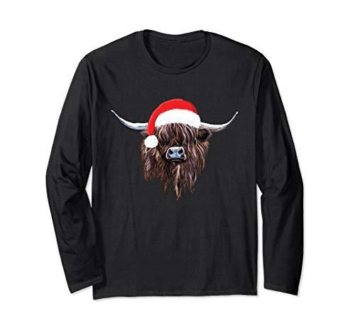 Scottish Highland Cow Christmas Santa Hat T-shirt