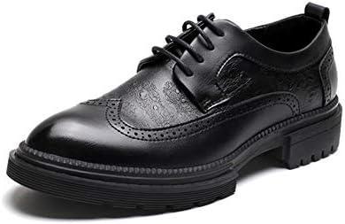 XYZDZ Hohe Qualität Vintage Geschäfts Herren Engraving Oxford Schuhe mit Spitzschuh Flügelspitze Thick Sole Pull Schlupf Für Männer (Color : Black, Size : 39 EU)