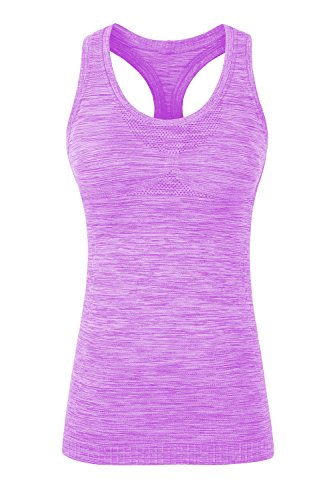 Racerback Shelf Bra Cami - YAKER Women's Active Fitness Workout Soft Stretch Racerback Yoga Tank Top Shirt (M Fit for 34C/34D/36A/36B/36C/36D, Purple)