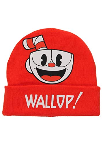 elope Cuphead Printed Foldup Red Knit Beanie by elope