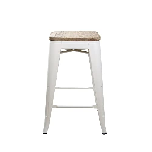 GIA 24-Inch Backless Counter Height Stool with Wooden Seat, White Light Wood, 1-Pack