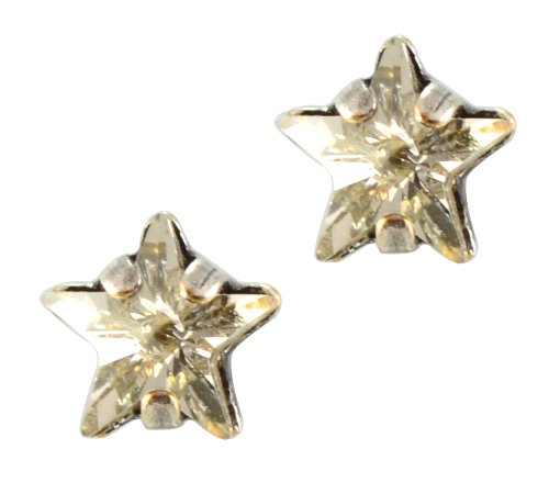 Icon Sterling Silver Post Earrings (Mariana Silver Plated Petite Star Crystal Post Earrings in Crystal Silver)
