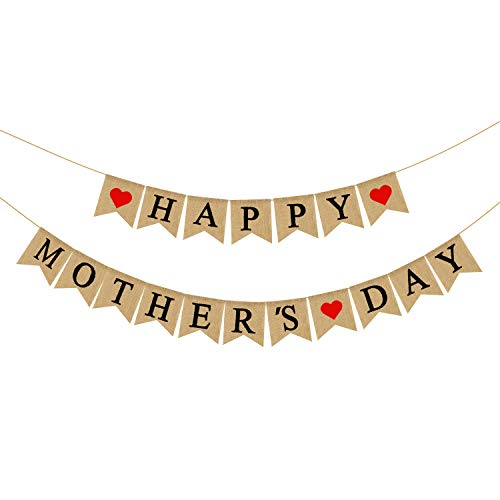 Burlap Happy Mothers Day Banner | Rustic Mothers Day Party Decorations | Mothers Day Gifts Ideas
