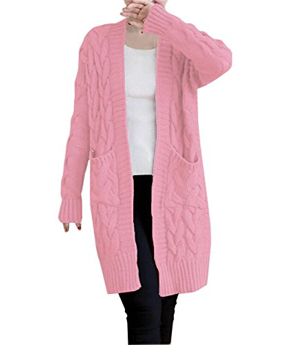 (NUTEXROL Women's Open Front Long Sleeve Knit Think Cardigan Chunky Sweater Pink L)
