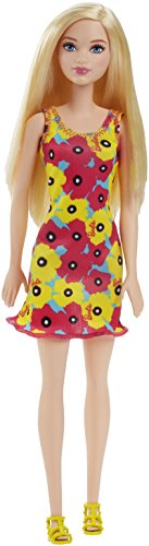 Barbie 12 Inch Fashion Doll - Yellow and Pink Flowers Floral Design Dress 2016 Mattel