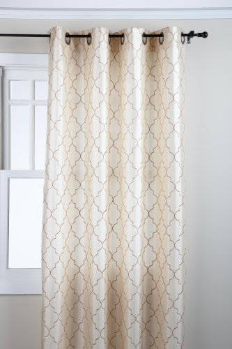 Stylemaster Hudson 55 by 84-Inch Embroidered Faux Silk Grommet Panel, Vanilla