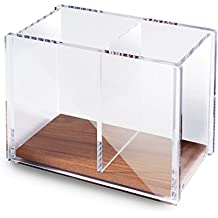 "Zodaca Acrylic Pencil Pen Holder Large, [2 Compartments with Wood Base] Acrylic Pen Pencil Holder Large Capacity for Desk Desktop Stationery Organizer Desk Accessories, Clear/Brown (4.9"" x 4"" x 2.9"")"