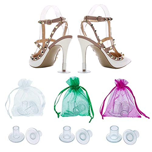 12 Pairs Transparent High Heel Protectors,Heel Stoppers,Heel Repair Caps Covers for Women-Perfect for Weddings, Races, Formal Occasions - Protecting from Grass, Gravel, Bricks & Cracks (S/M/L) (Formal Perfect Wear Occasions)