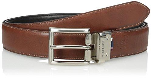 Tommy Hilfiger Men's Dress Reversible Belt With Polished Nickel Buckle,Black/Brown,42