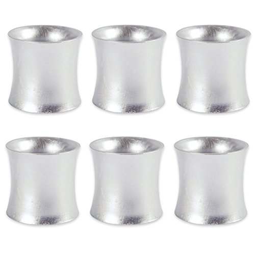 DII Shabby Chic Napkin Rings for Wedding Receptions, Dinners Parties, Family Gatherings, or Everyday Use - Curved Shimmer Sliver, Set of 6 (Modern Napkin Rings)