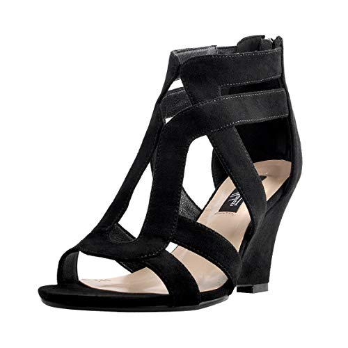 (Onlymaker Women's Gladiator Cut Out Wedge Sandals Sexy Peep Toe Heeled Casual Party Dress Shoes Black 11 M US)