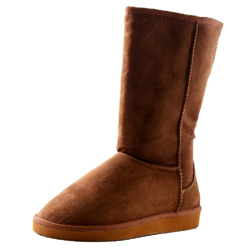 Soda Women's Soong Comfort Faux Suede Fur Mid- Calf Flat Boot, NAT, 8 M US Dark Camel Suede
