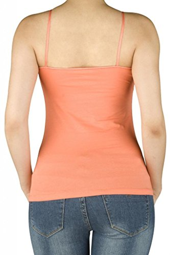 Women-Active-Basic-Built-In-Inner-Bra-Spaghetti-Cami-Adjustable-Straps