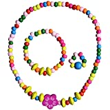 SMITCO Jewelry for Girls - Stretch Flower Necklace Ring and Bracelet Set, Ages 2-10