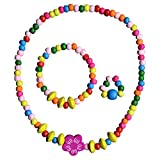 SMITCO Toddler Jewelry for Girls - for Kids to Play Dress Up - Stretch Necklace, Ring and Bracelet Set