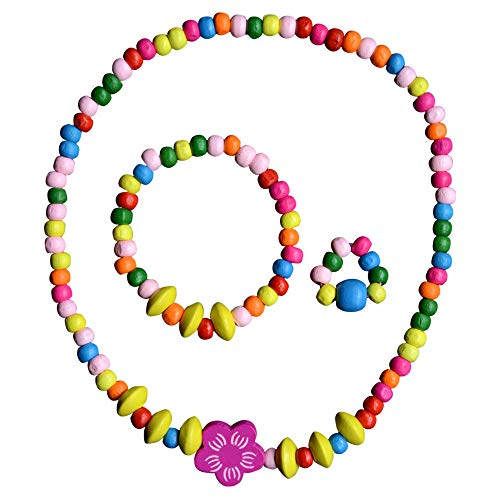 SMITCO Jewelry for Little Girls - Toddler Kids Wooden, Beaded Toy Necklace, Bracelet and Ring Set for Play Pretend or Dress Up with Costume Accessories - Non-Toxic and Safe for Children Ages 3 to 8