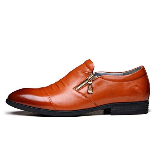 LINYI Men's Business Dress Shoes Zipper Fashion Set Toe Shoes Casual Shoes Wedding Shoes Brown 2uLVE