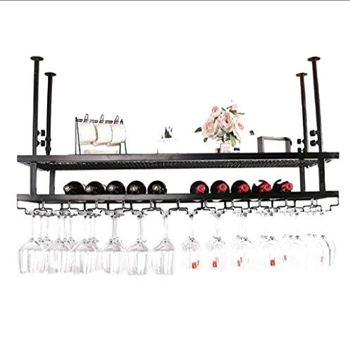 Hanging Red Wine Stemware Racks, Ceiling Mounted Hanging Wine Bottle Holder Metal Goblet Wine Glass Rack - Various (Color : Black,) (Color : A, Size : 603022cm)