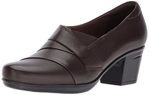 Clarks Women's Emslie Warbler Pump,Dark Brown Leather,9 M US (Clarks Brown)