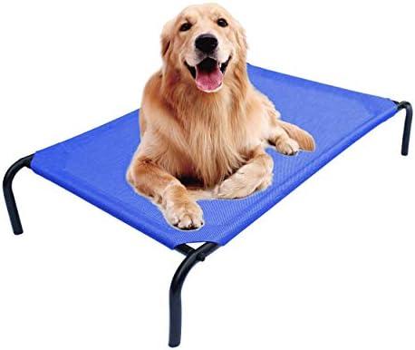 PHYEX Cama elevada portátil con marco de acero resistente para mascotas, cama elevada de refrigeración, 50.5 pulgadas de largo x 30.5 pulgadas de ancho x 7.8 pulgadas de alto (L, azul) 2