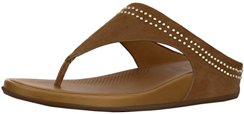 - FitFlop Womens Banda Suede Toe-Thong Sandals with Studs Tan/Tan Sandal - 9