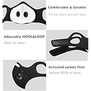 UltraTac Dust Mask with 4 Extra Activated Carbon Filters, Anti-Pollution Sport masks for Running Cycling Woodworking Mowing Painting Outdoor Activities