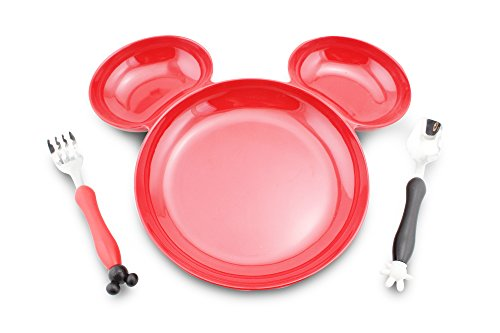 Finex Mickey Mouse Head Shape Bpa Free Plastic Plate With Spoon And Fork Set  Red