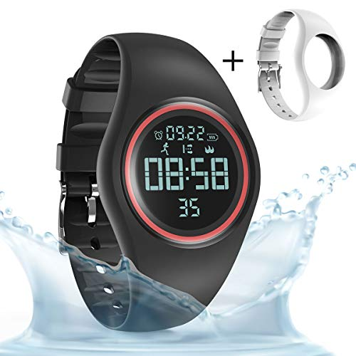 synwee Sports Fitness Tracker Watch, IP68 Waterproof, Non-Bluetooth, with Pedometer/Vibration Alarm Clock/Timer,for Kid Children Teen Boys Girls (Black-red) ¡