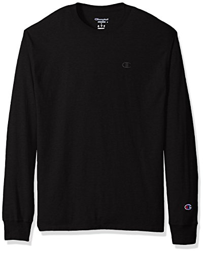 Champion Men's Classic Jersey Long Sleeve T-Shirt, Black, XL