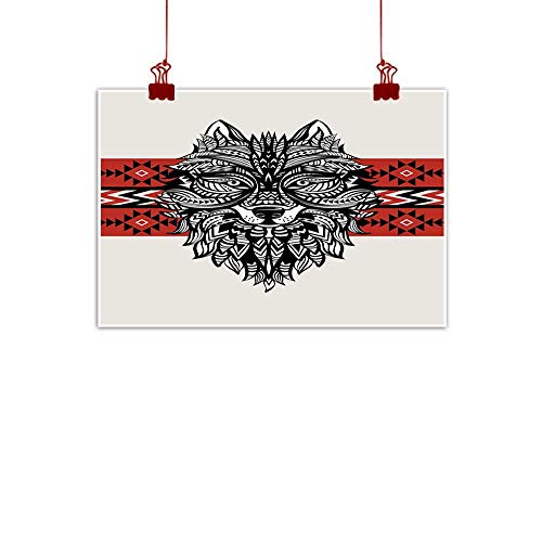 Artwork Office Home Decoration Wolf,Tattoo Style Ethnic Totem Style Animal Face with Swirls Geometric Triangle Motifs,Red Black Cream 48