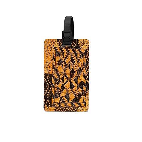 (CuteToiletLidABC Raffia Kuba Pattern 9 Custom PVC Luggage Baggage Suitcase Tag ID Label for Travel)