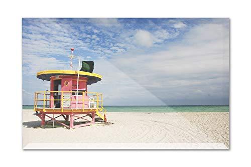 (Miami, Florida - Pink Lifeguard Station - Photography A-93944 (9x6 Acrylic Photo Block Gallery Quality) )