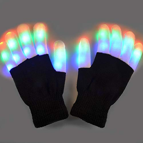 LED Gloves, Yullmu Led Flashing Gloves, 6 Modes 3 Color Finger Light up Warm Led Gloves, Kids Led Gloves Toys for Party Birthday Hallowmas Christmas Dance Thanksgiving Day Gifts (Black & White)