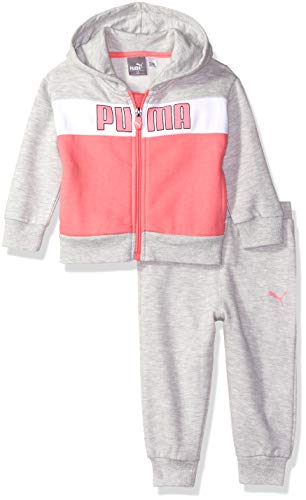(PUMA Baby Girls' Fleece Hoodie Set, Light Heather Grey, 24M)