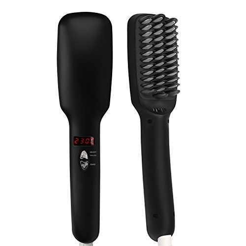 Segbeauty Ionic Hair Straighteners Brush Ceramic PTC Heating Straighter Comb Anti-scald Hair Straightening Wide Tooth Detangling Comb Adjustable Temperature Quick Styling Hair Tool Frizz-free