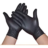 100Pcs/Box Disposable Nitrile Gloves Powder Free Ambidextrous For Medical House Industrial Use Tattoo Gloves?Black? (Small)